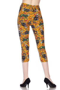 Buttery Soft Kitty Cat Mustard Sugar Skull Capris