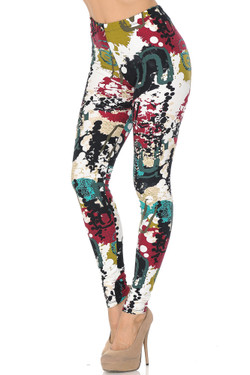 Buttery Soft Summer Picasso High Waisted Plus Size Leggings - 3X - 5X