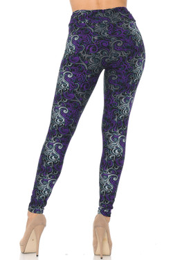 Buttery Soft Purple Tangled Swirl Plus Size High Waisted Leggings