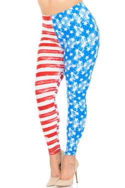 Buttery Soft Vintage Pastel USA Flag Plus Size Leggings