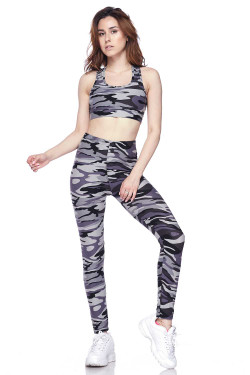 Buttery Soft Monochrome Camouflage Leggings and Bra Set