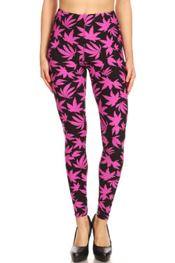 Buttery Soft Solid Fuchsia Marijuana Leggings