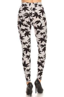 Buttery Soft Solid Heather Grey Marijuana Extra Plus Size Leggings - 3X-5X