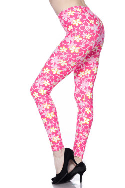 Buttery Soft Pink Daisy Leggings