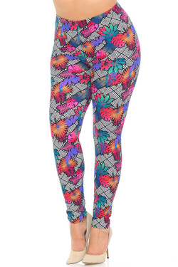 Buttery Soft Rainbow Foliage Extra Plus Size Leggings - 3X-5X