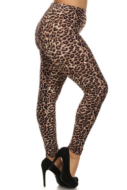 Right side leg image of Buttery Soft Feral Cheetah Plus Size Leggings