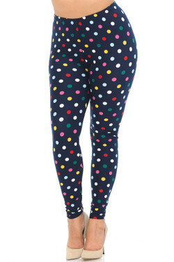 Buttery Soft Colorful Polka Dot Plus Size Leggings - 3X-5X
