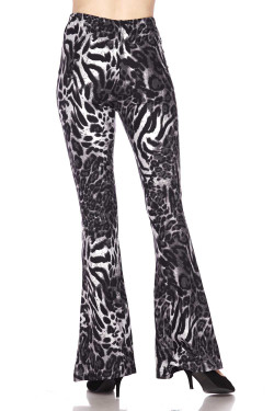 Buttery Soft Black and White Siberian Tiger Bell Bottom Leggings