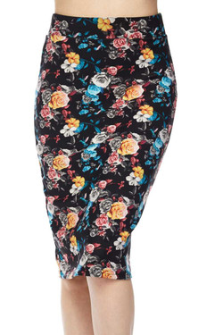 Silky Soft Colorful Floral Bunch Scuba Pencil Skirt