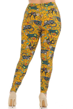 Buttery Soft Kitty Cat Mustard Sugar Skull Plus Size Leggings