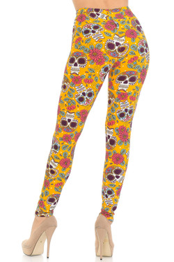 Buttery Soft Mustard Summer Sugar Skull Leggings