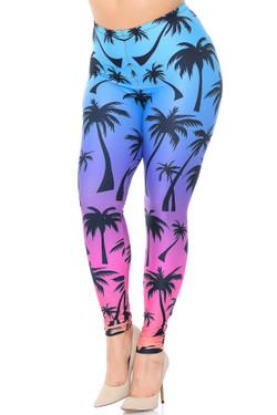 Creamy Soft Ombre Palm Tree Extra Plus Size Leggings - 3X-5X - USA Fashion™