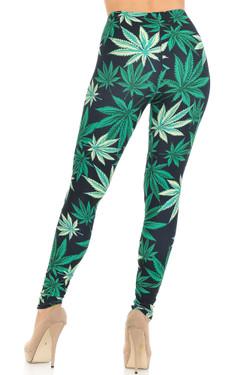 Creamy Soft Black Weed Leggings - USA Fashion