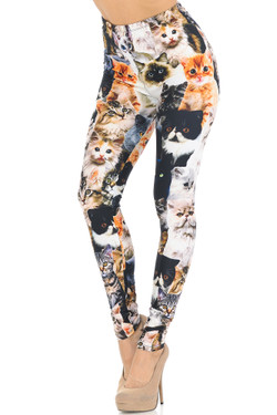 Creamy Soft Cat Collage Extra Small Leggings - USA Fashion™