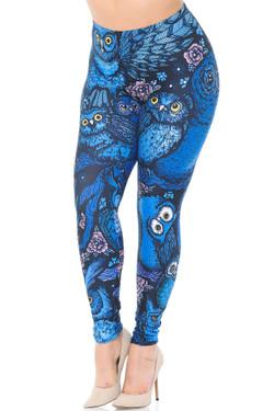 Creamy Soft Blue Owl Collage Plus Size Leggings - USA Fashion™