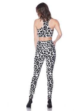 Buttery Soft Ivory Spotted Leopard Bra and Leggings Set