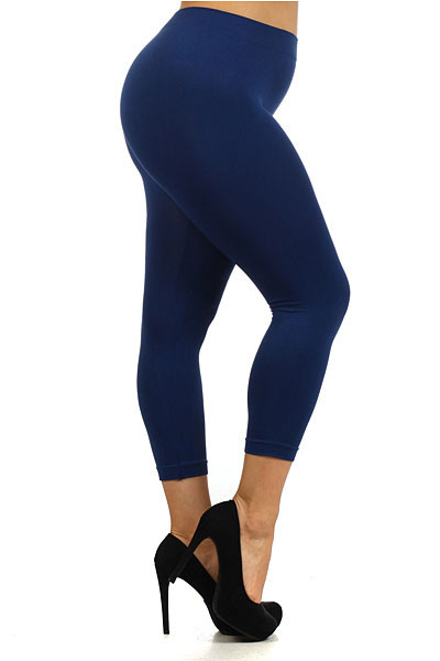 Basic Capri Length Seamless Plus Size Leggings