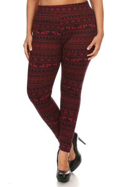 Holly Jolly Red Reindeer Fur Lined Leggings - Plus Size