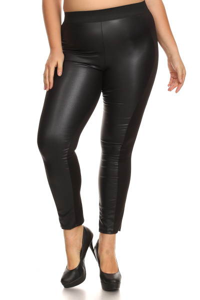 Karma Split Faux Leather Leggings - Plus Size