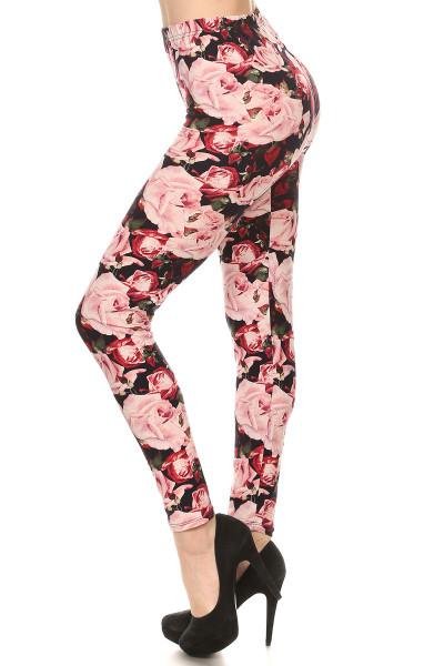 Plus Size Brushed Rustic Pink Rose Leggings