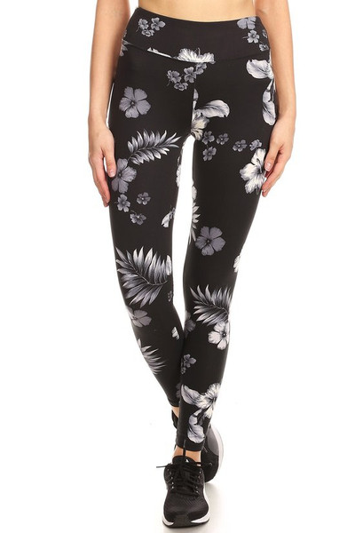 Wholesale Premium Brushed High Waisted Floral Tropics Sport Leggings
