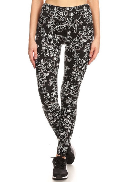 Wholesale Premium Brushed High Waisted Etched Rose Sport Leggings