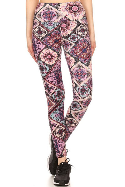 Wholesale Premium Brushed High Waisted Pastel Patch Sport Leggings