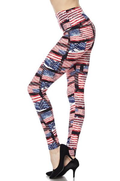 High Waisted 3D Hologram USA Flag Plus Size Leggings