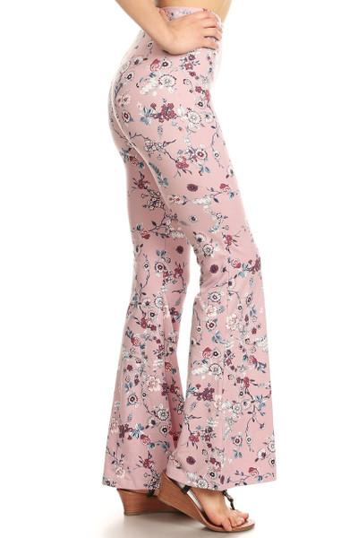 Buttery Soft Beautiful Blush Floral Bell Bottom Leggings