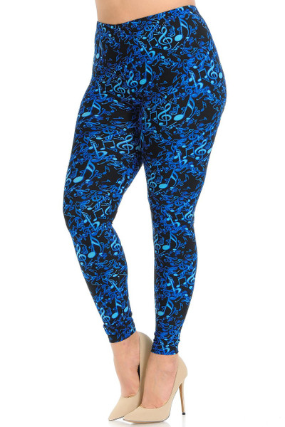 Buttery Soft Electric Blue Music Note Plus Size Leggings - 3X-5X