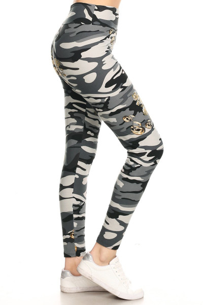 Buttery Soft Charcoal Skull Camouflage High Waisted Plus Size Leggings