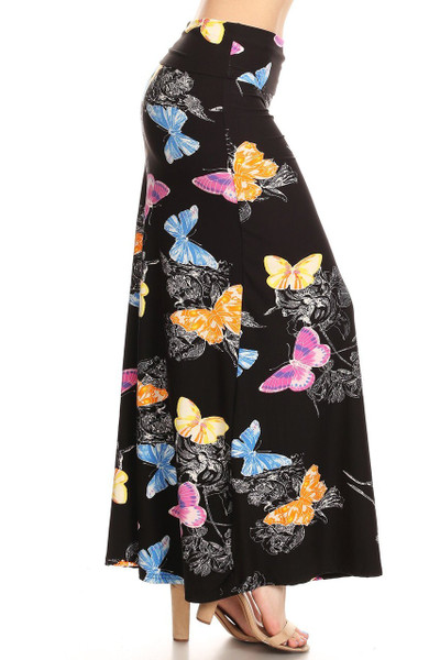 Side image of Buttery Soft Beautiful Butterfly Maxi Skirt