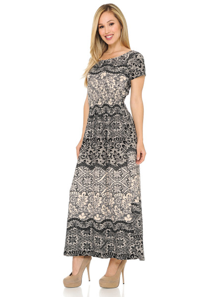 Buttery Soft Short Sleeve Exquisite Leaf Maxi Dress