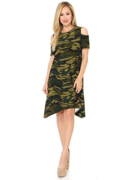 Buttery Soft Cold Shoulder Camouflage Shift Dress