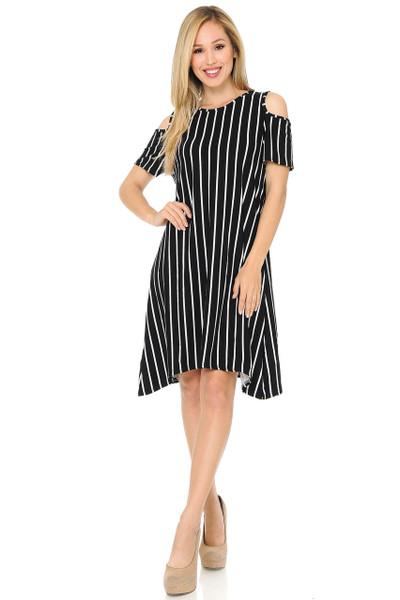 Buttery Soft Cold Shoulder Black PinStripe Shift Dress