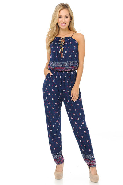 Fashion Casual Navy Pearl Summer Jumpsuit