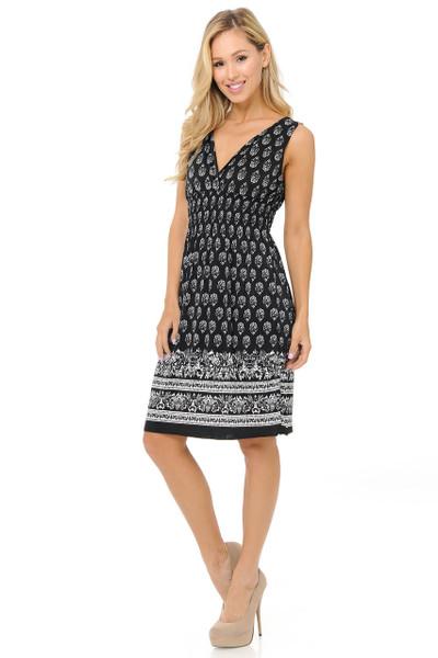 Fashion Casual Ebony Floral Deep-V Summer Dress