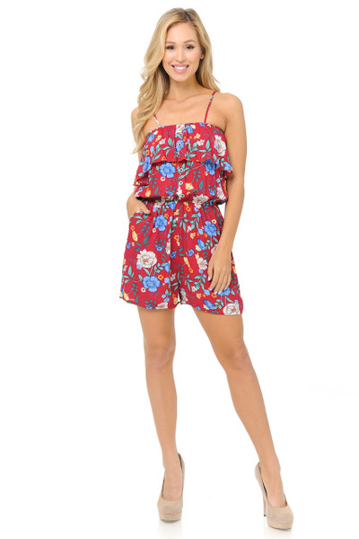 Fashion Casual Ravishing Red Floral Romper