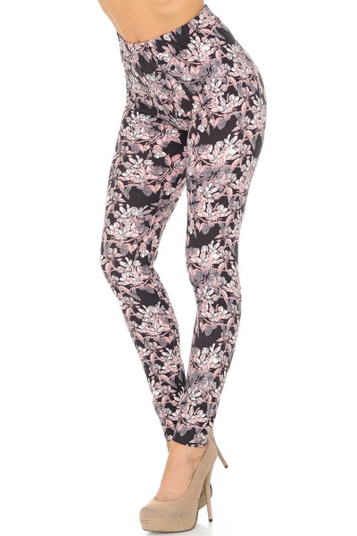 Buttery Soft Beautiful Pink Floral Eden Leggings