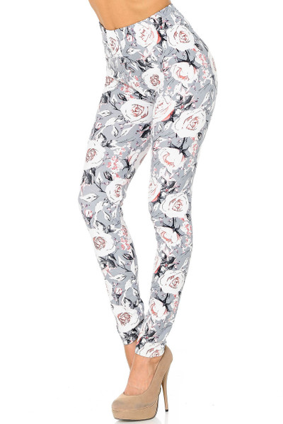 Buttery Soft Dusky Charcoal Floral Leggings