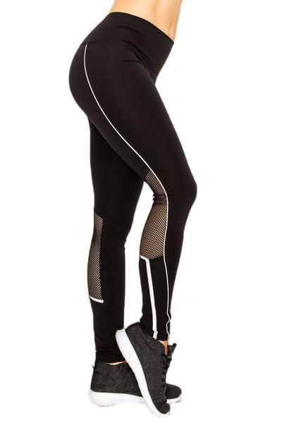Contour Piping Mesh Sport Workout Leggings