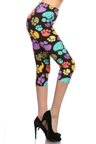 Buttery Soft Rainbow Paw Print Capris