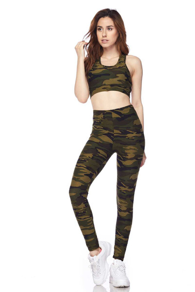 Buttery Soft Green Camouflage Leggings and Bra Set
