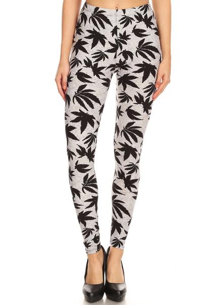 Buttery Soft Solid Heather Grey Marijuana Plus Size Leggings