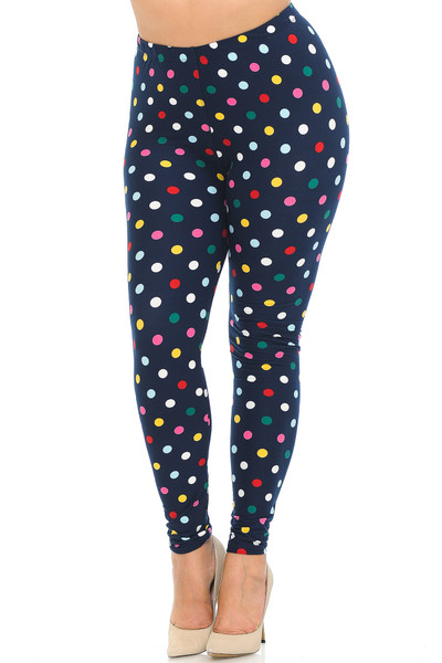 Buttery Soft Colorful Polka Dot Plus Size Leggings - 3X-5X