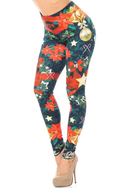 Antique Christmas Themed Women/'s Black Leggings  One Size /& Plus Size  NEW