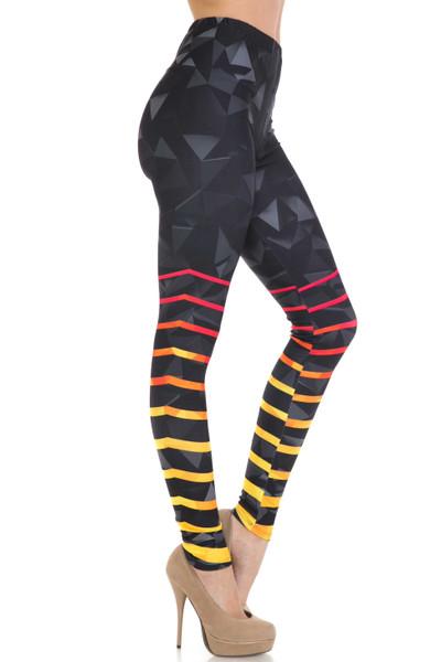 Trendy Yellow Leggings Stripe paint legging Yellow black legging stripe design legging Yellow hot line