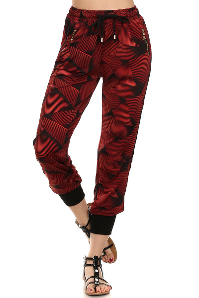 Abstract Crimson Joggers
