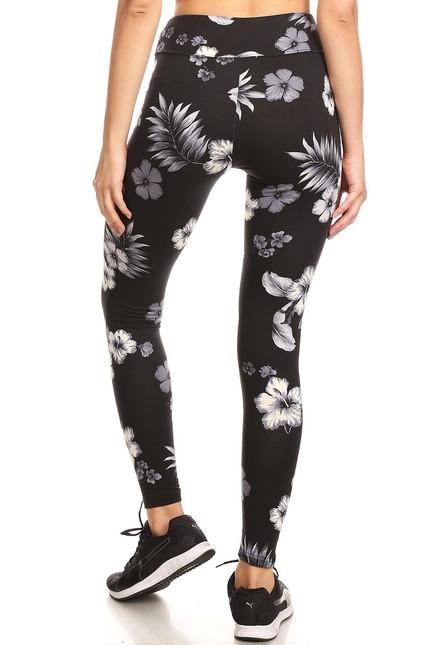 Wholesale Premium Brushed High Waisted Floral Tropics Sport Leggings