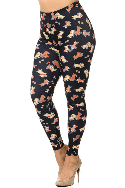 Creamy Soft Playful Puppy Dogs Plus Size Leggings